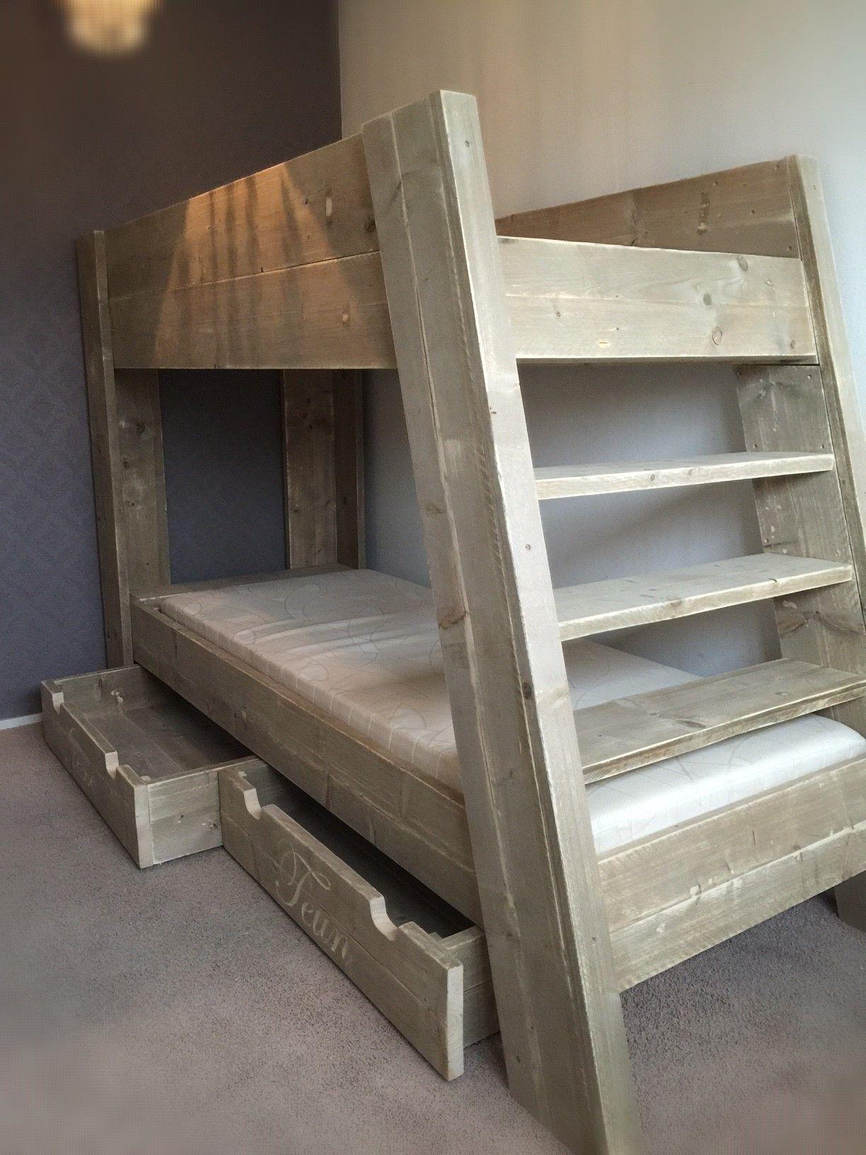Steigerhouten bedden stapelbed 1 of 2 persoons bed van steigerhout slaapkamer sieds fedde - Mezzanine jongen ...