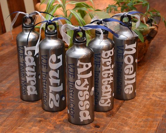 Aluminum Water Bottle Personalized with vinyl. $12.50, via Etsy.