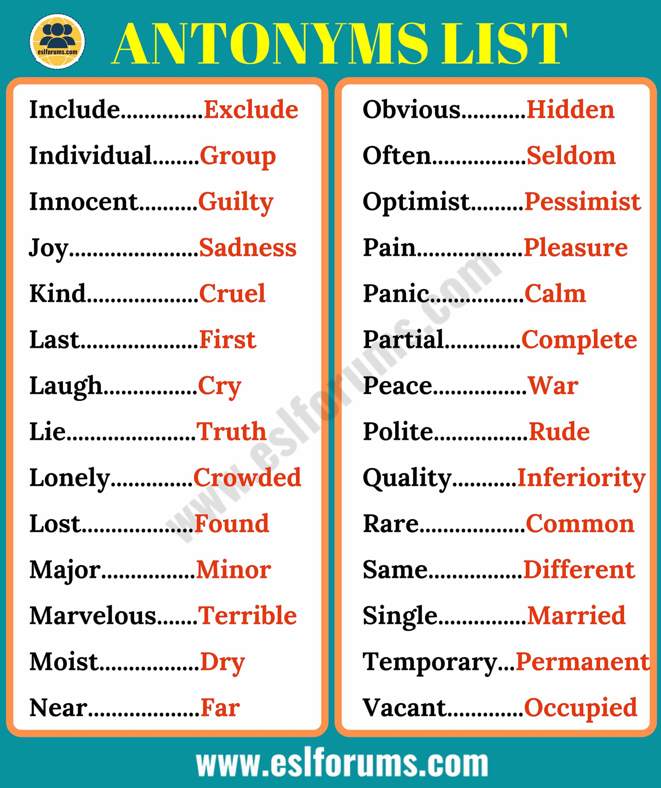Printables Of Antonyms For Pain