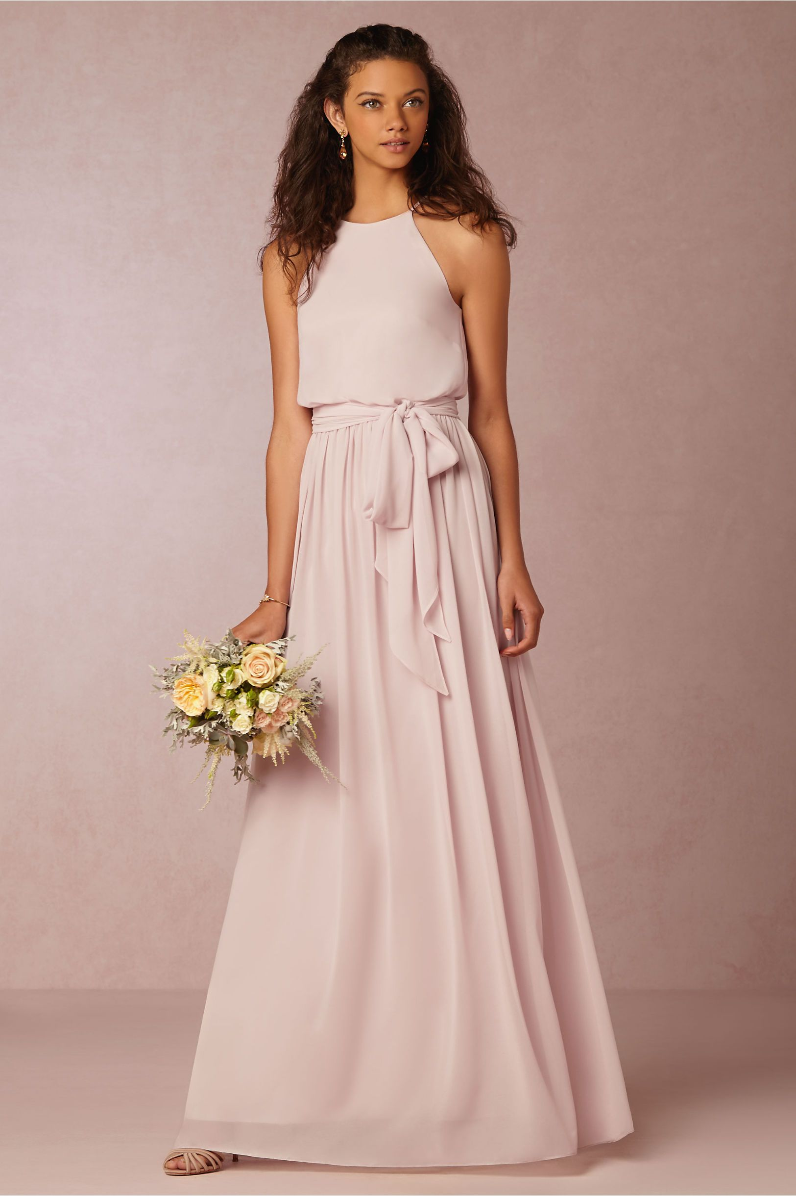 Halter Neck Blush Chiffon Sleeveless Bridesmaid Dress with Sash ...