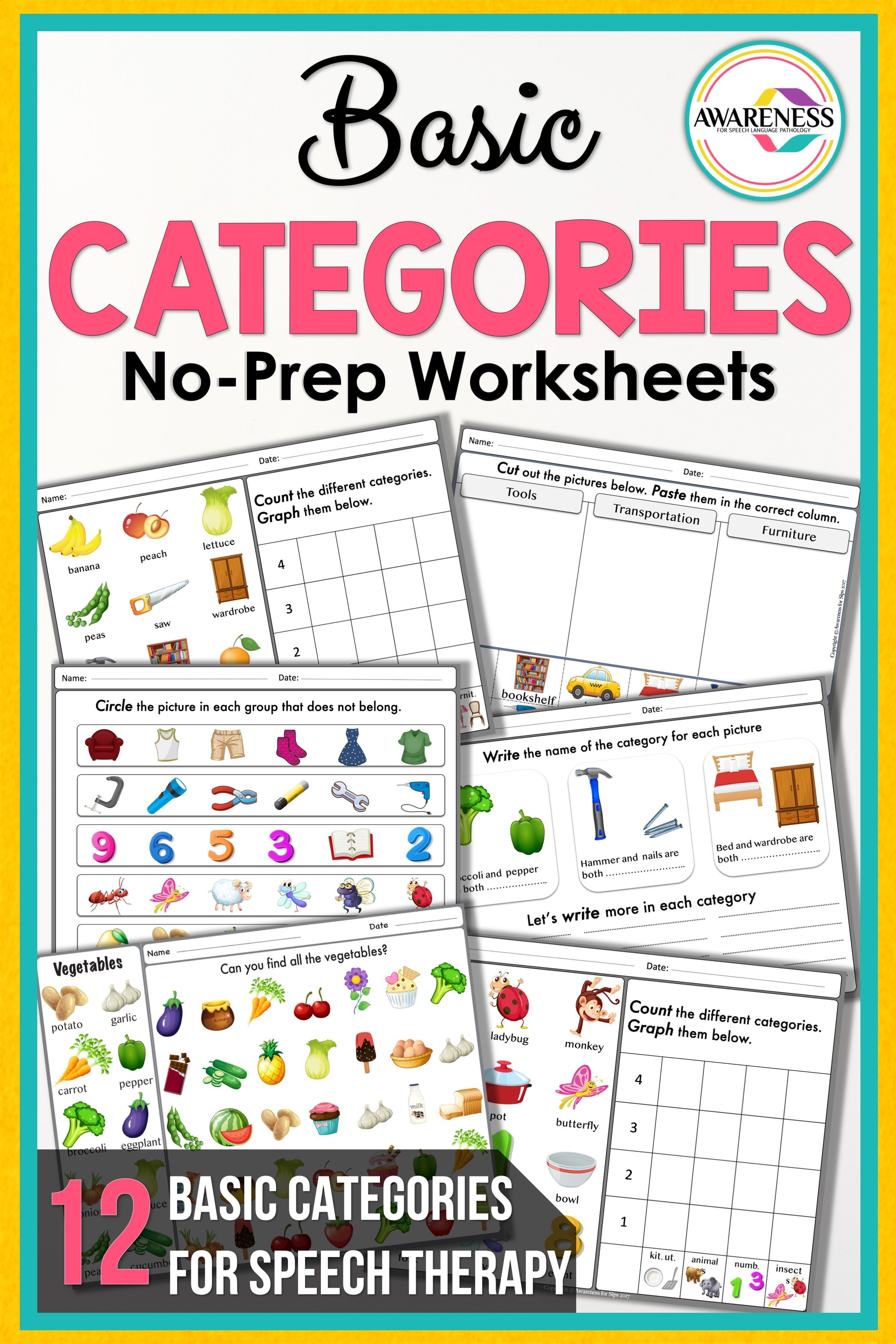 Categories For Speech Therapy No Prep
