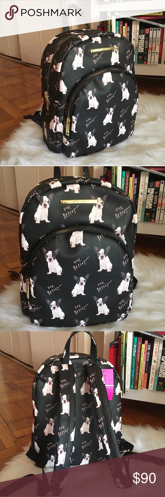 Betsey Johnson Black Doggy French Bulldog Backpack NWT