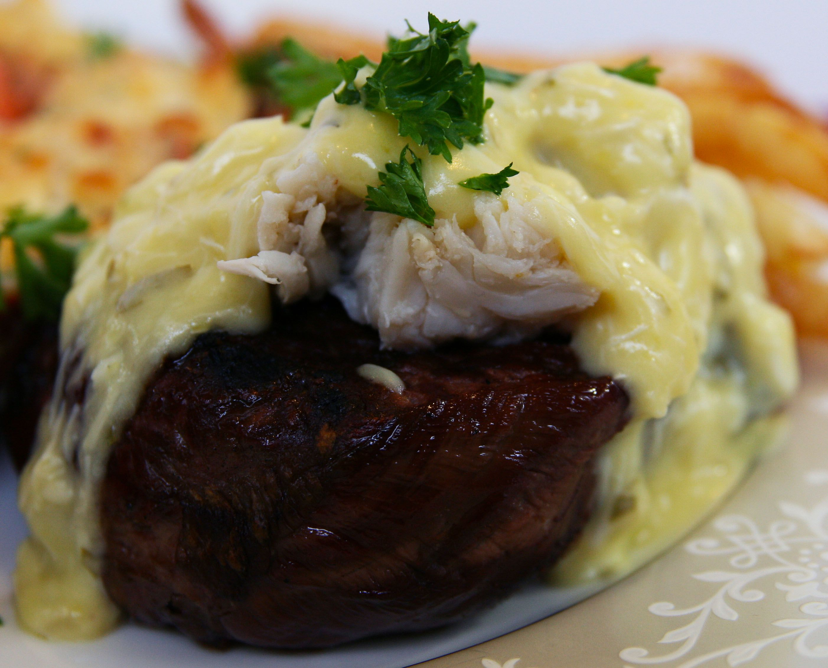 Organic filet with crab Hollandaise sauce.  www.whatscookingwithdoc.com  jefenster