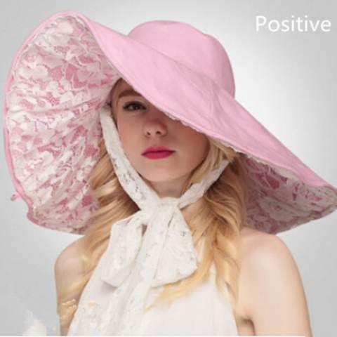 a32fe37a4e7 Lace bow floppy sun hats for women pink beach wide brim sun hat sided wear