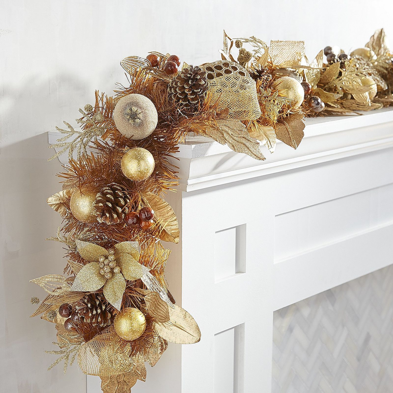 Make Your Mantel Or Staircase The Showplace Of The Season With Garland That Speaks To Your Interpreta Christmas Floral Decor Christmas Garland Christmas Floral
