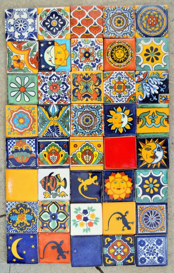 40 Mexican Talavera Tiles handmade Hand painted 2 X 2