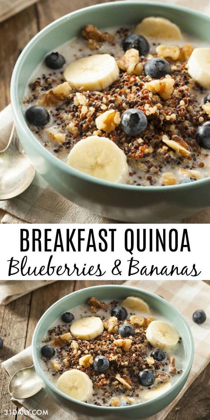 Photo of Healthy breakfast quinoa with blueberries and bananas