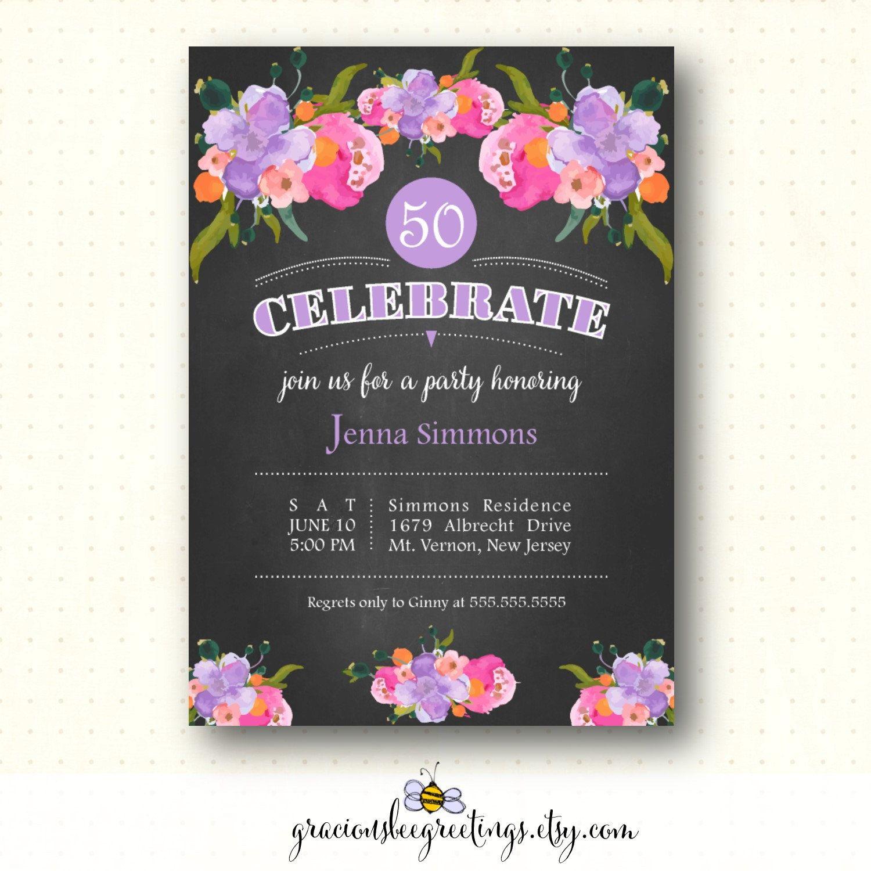 Adult Birthday Party Invitation, 21st, 30th, 40th, 50th, 65th, 70th ...
