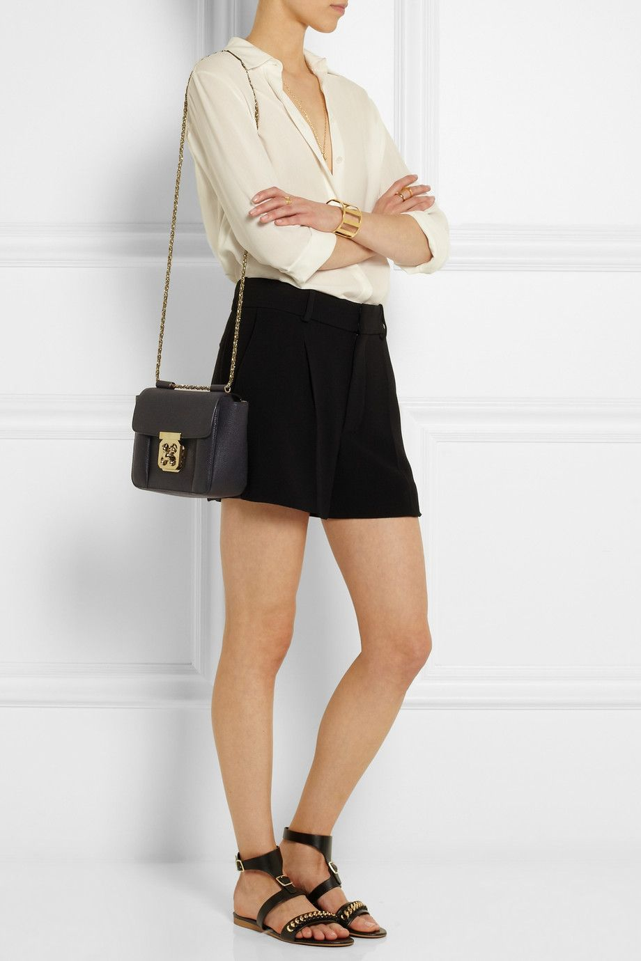 8a21e19820998 CHLOÉ Elsie small textured-leather shoulder bag CHLOÉ Pleated cady shorts  THE ROW Carlton oversized crepe blouse STELLA MCCARTNEY Chain-embellished  faux ...