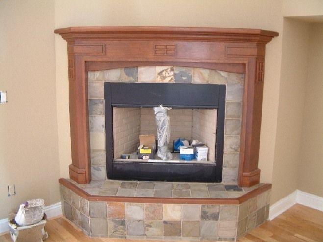 Corner Fireplace Design Ideas | Corner Fireplace Slate Tile Faced