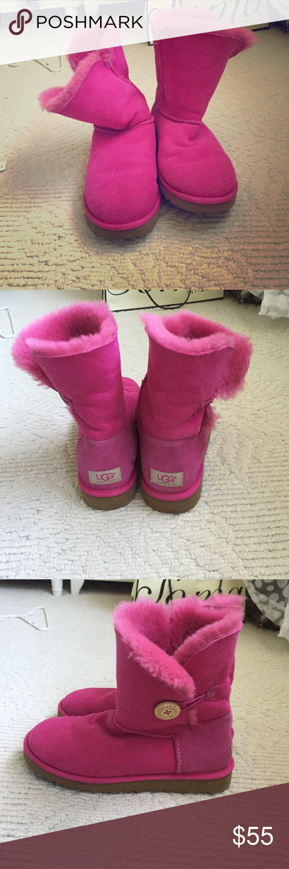 Pink short uggs Slightly worn hot pink uggs perfect for bringing bright color into winter! UGG Shoes Winter & Rain Boots