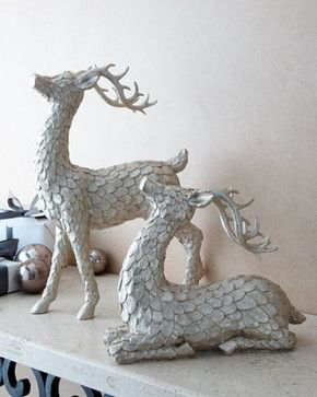 Two Golden Deer Figures Traditional Holiday Decorations Woodland Christmas Winter