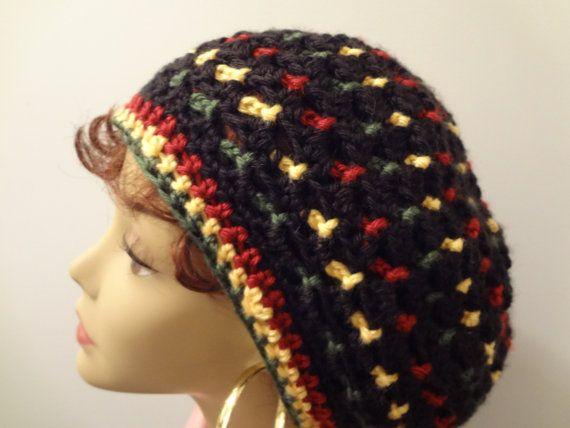 Rasta Hat, Reggae, Crocheted Bob Marley Rasta Slouchy Dread Hat, Tam ...
