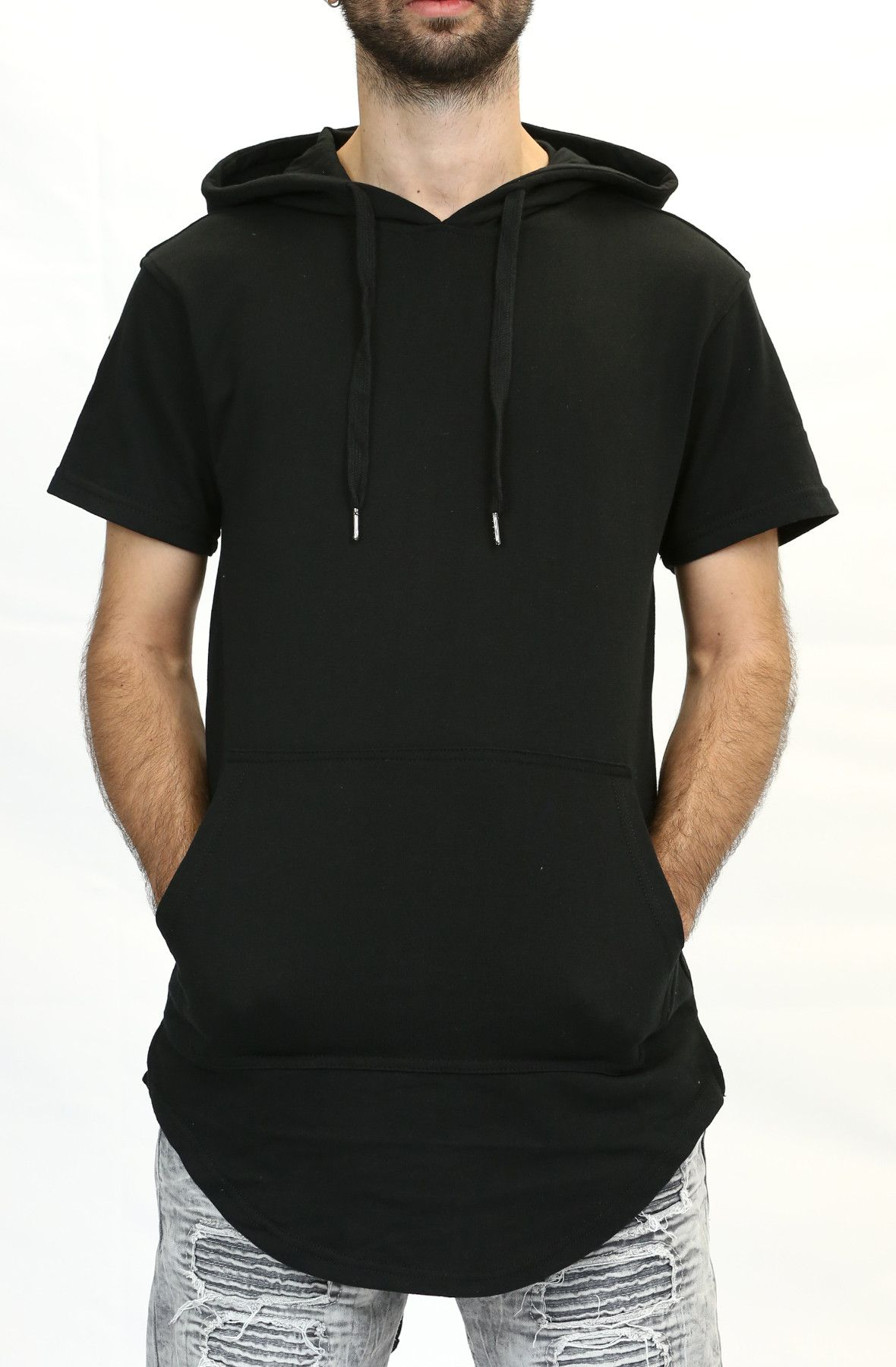 5f3294bb Elongated Short Sleeve Hoodie in Black – Fashion X Freedom | Clothes ...