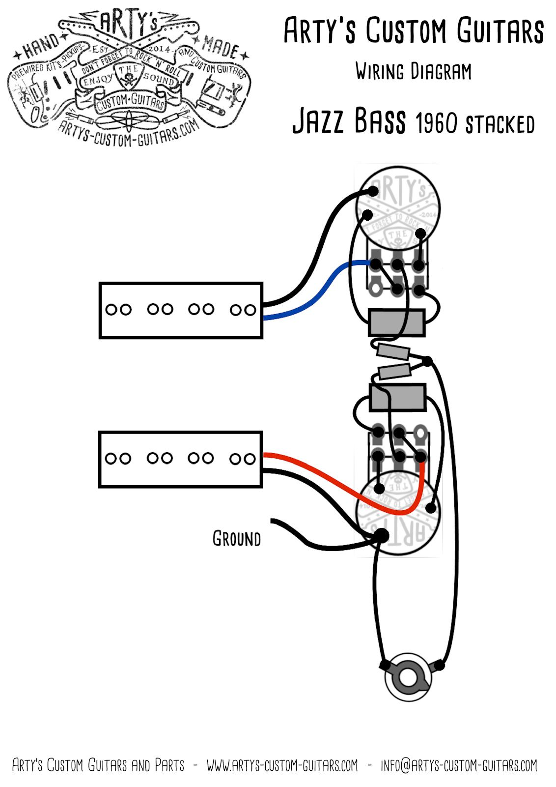 arty s custom guitars vintage pre wired prewired kit wiring assembly harness arty jazz bass 1960 1962 stacked pots 3 hole j bass [ 1132 x 1601 Pixel ]