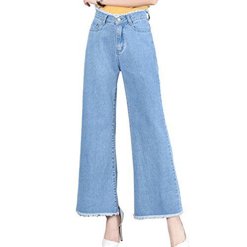 8452617e304a7 Tookang Femme Jean Casual Confortable Grande Taille Bootcut Pantalons en  Denim Evasée Jambe Large avec No