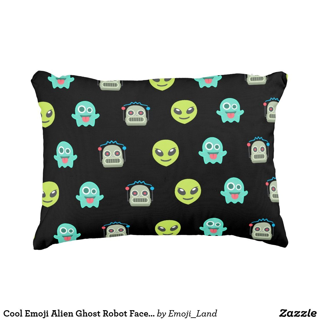 Cool emoji alien ghost robot face pattern accent pillow accent