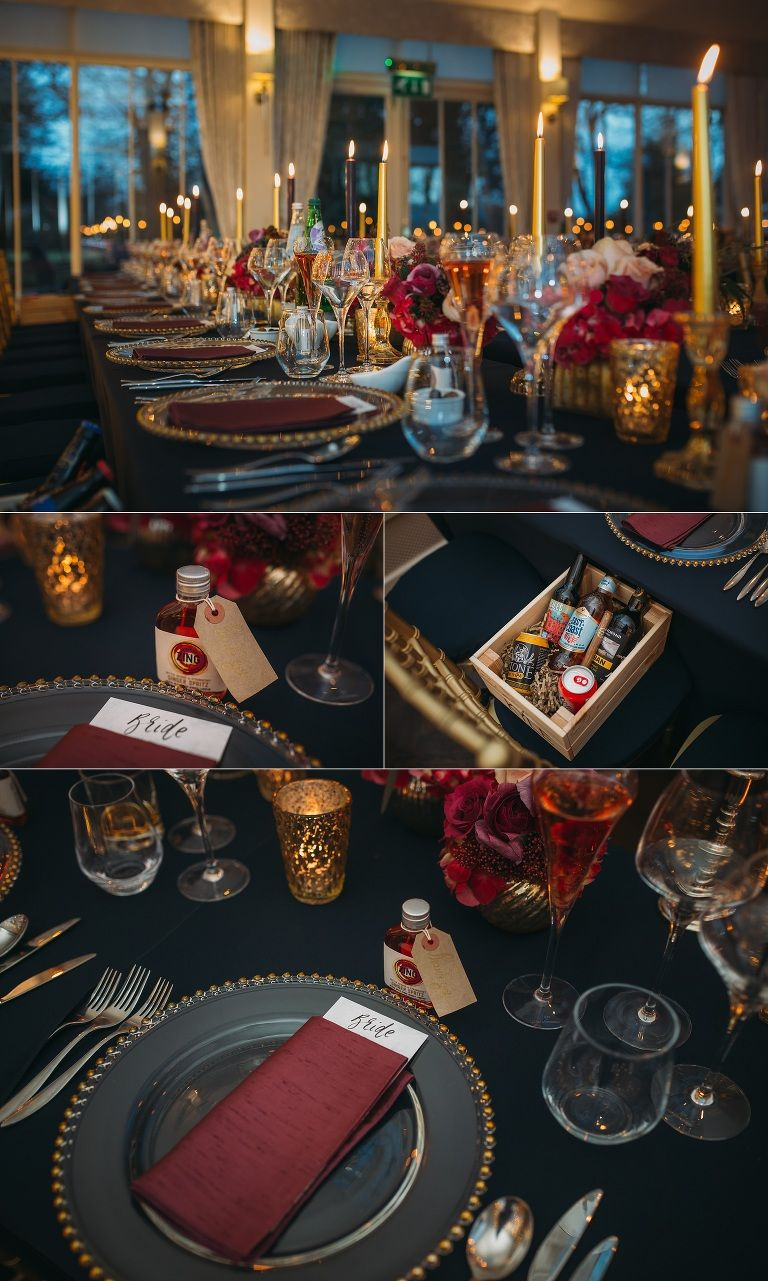 carlowrie castle winter wedding navy blue marsala gold theme wedding tables and decor