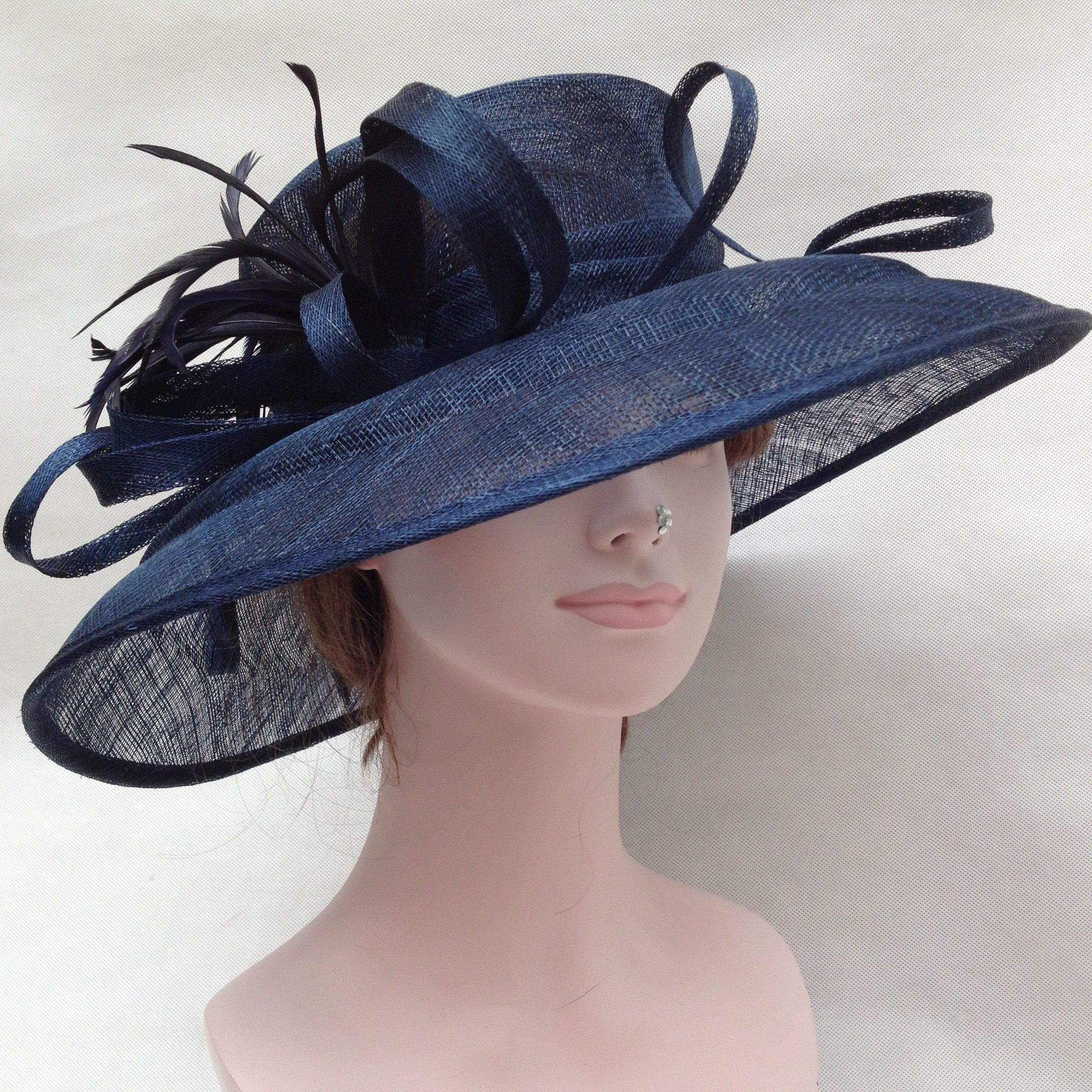 11d73f234ef7e Church Kentucky Derby Carriage Tea Party Wedding Wide Brim Sinamay Hat Navy  Blue