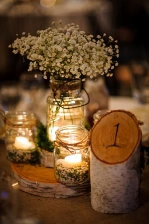 Birch Tree Table Numbers Mason Jars With Pebbles And Tea Light Wedding Centerpieces Mason Jars Wedding Tree Decorations Rustic Wedding Centerpieces Mason Jars