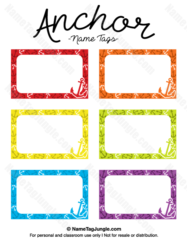 Free printable anchor name tags the template can also be used for creating items like labels for Name tag template free printable