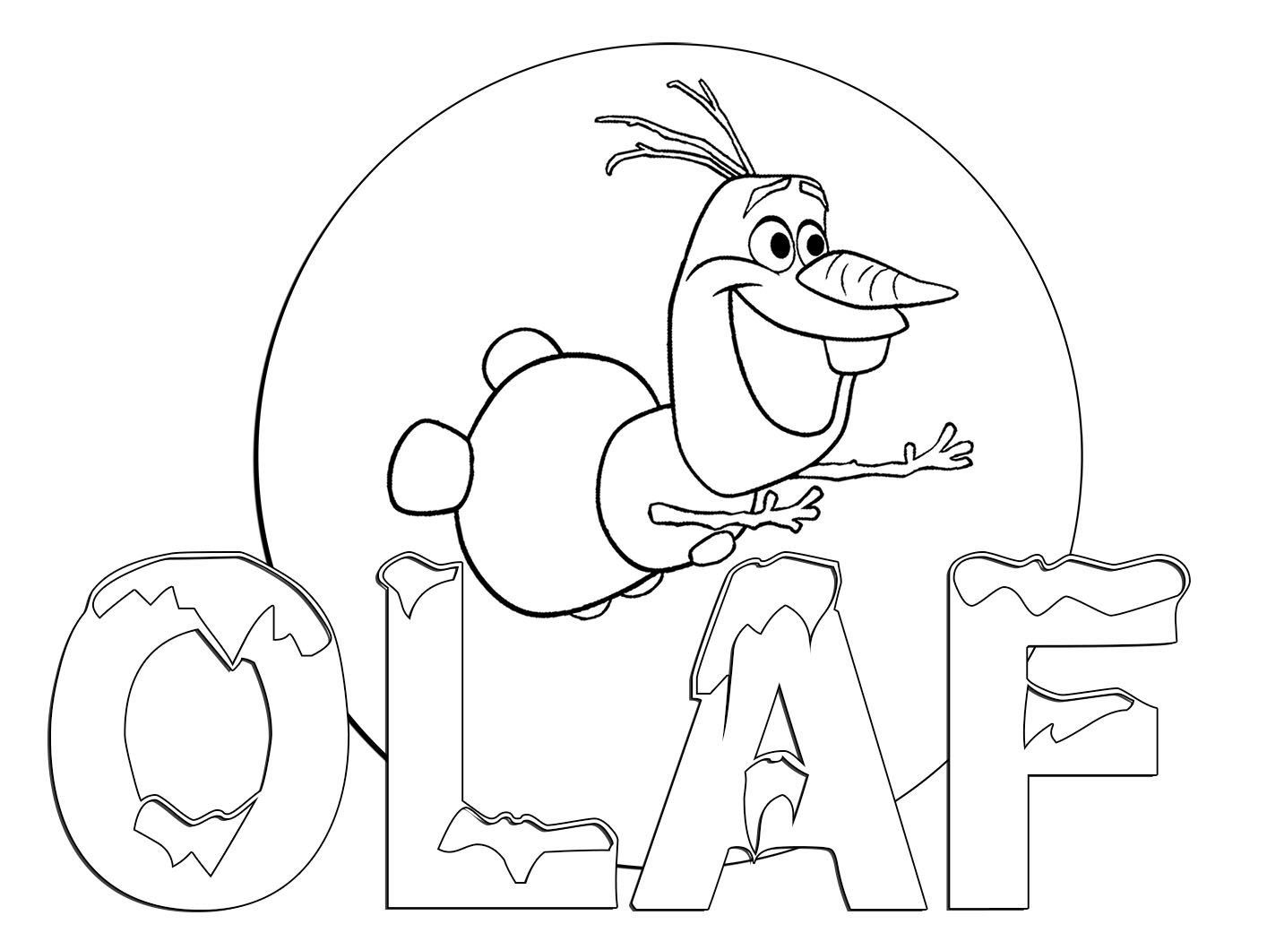 Frozen Free Coloring Page Of Olaf Finding A Flower With The Trees