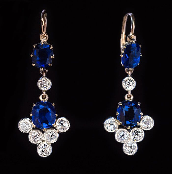 Antique Sapphire and Diamond Dangle Earrings, circa 1890s. Russian 14K gold and silver pendant earrings prong-set with two cushion cut sapphires and six old European cut diamonds set in silver bezels. Sapphires ~3 cts, diamonds ~1.30 ct.