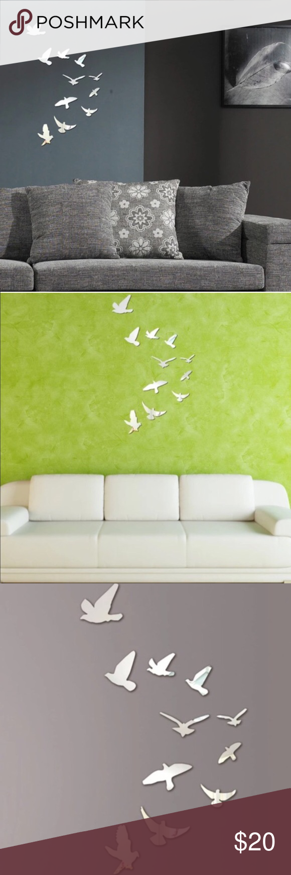 ✨Bird mirror wall set🎁 Decorate any part of your home with this adorable 10pc mirror bird set Urban Outfitters Other
