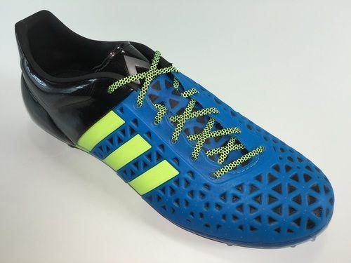 SR4U Grid Black/Neon Yellow Premium Soccer Laces on adidas Ace 15.1