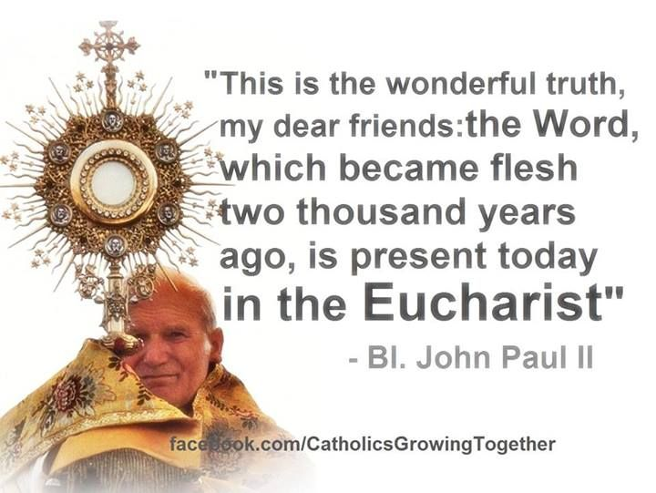 Quotes From Pope John Paul Ii: Blessed Pope John Paul II ~ The Eucharist