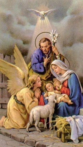 heiligenbildchen hl familie krippe jesus maria josef