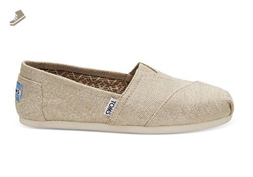 Toms Women's 10008015 Metallic Burlap Alpargata Flat, Natural, 8 M US - Toms flats for women (*Amazon Partner-Link)