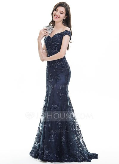 ee0e027ef78  US  237.49  Trumpet Mermaid Off-the-Shoulder Sweep Train Tulle Lace  Evening Dress With Sequins