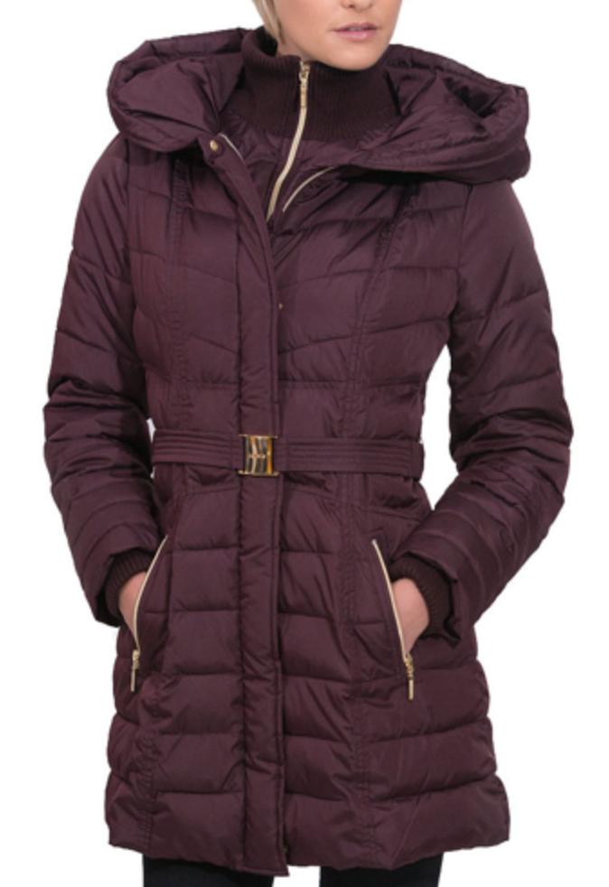 Kensie Ladies' Synthetic Down Coat with Belt - Wine