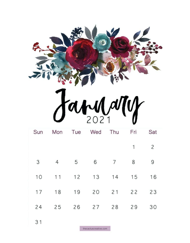 January 2021 Floral Calendar Wallpaper Calendar Printables Monthly Calendar Printable Calendar Wallpaper
