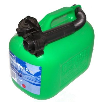 The Green Plastic Halfords Petrol Can is suitable for up to 5 litres of petrol.