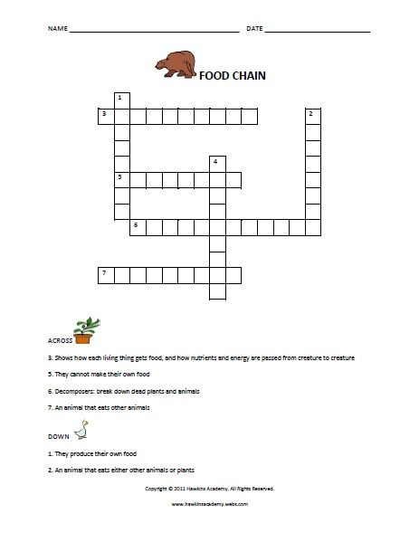 food chain crossword puzzle | Food Chains & Food Webs ♥ Projects ...