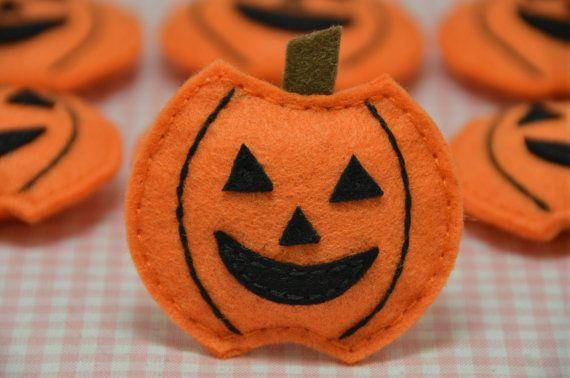 Set Of 6pcs Handmade Puffy Pumpkin Ft757 Llaveros De Fieltro Muñecos De Fieltro Y Artesanía De Halloween