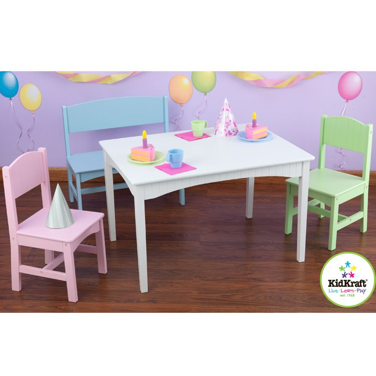 Pastel Nantucket Table With Bench And Two Chairs By