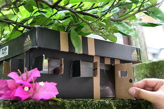 Shoe Box Dollhouse Craft For Kids: Shoebox Crafts : DIY Make A Faerie House Out Of Shoe Boxes