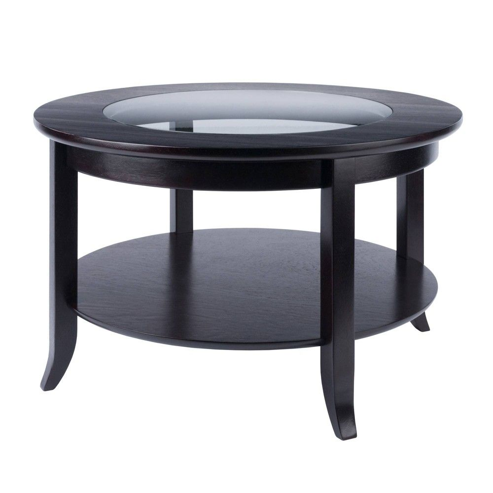 Genoa Coffee Table Glass Inset And Shelf Dark Espresso Winsome In 2021 Coffee Table Coffee Table Size Large Square Coffee Table [ 1000 x 1000 Pixel ]