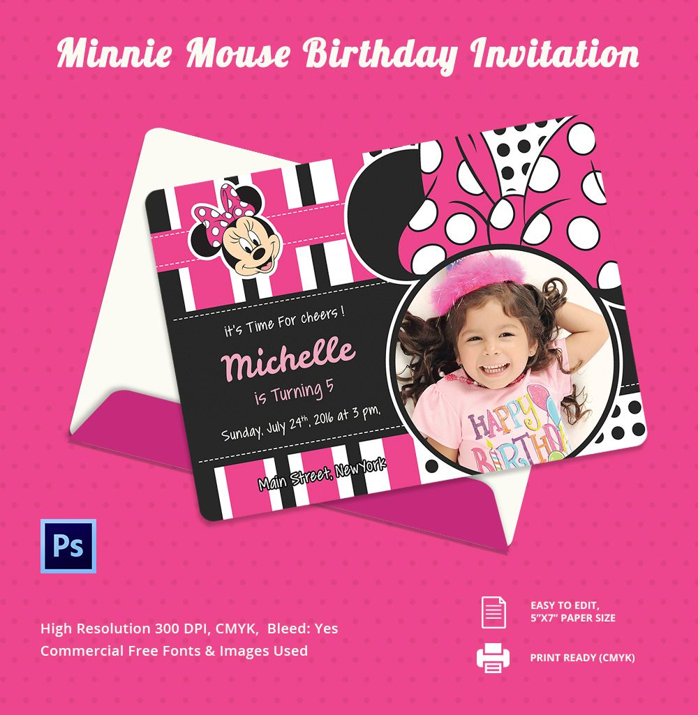 Awesome Minnie Mouse Invitation Template 21 Free Psd