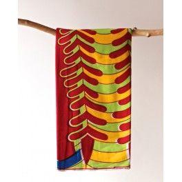 Tissu en coton à motifs géométriques rouge, vert bleu et jaune