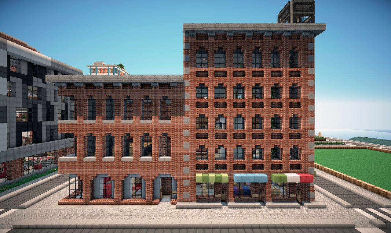 New York Brick Buildings On World Of Keralis Minecraft Project. Old Brick  Apartment Building Fire Escape Stock Photo Small Brick Apartment Building.