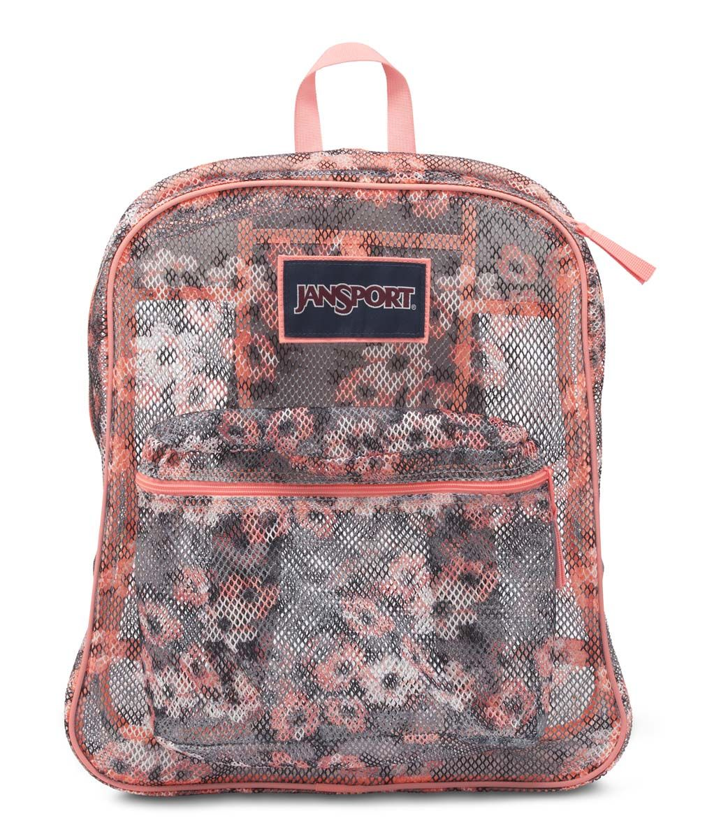 52fe5b3c273 JanSport Mesh Pack School Backpack - Coral Sparkle Pretty Posey ...