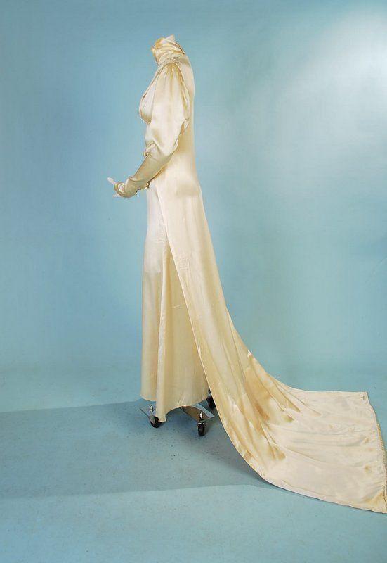 1930 candlelight slipper silk satin wedding gown & long train ...