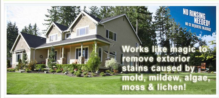 Spray Forget No Rinse Roof And Siding Cleaner Removes Green Black Algae Mildew Moss And Lichen Stains From Ex House Exterior