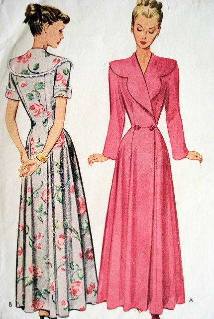 1940s BEAUTIFUL HouseCoat Lounging Gown Bathrobe Pattern McCALL 7459 Flattering Hostess Gown Bust 42 Vintage Sewing Pattern