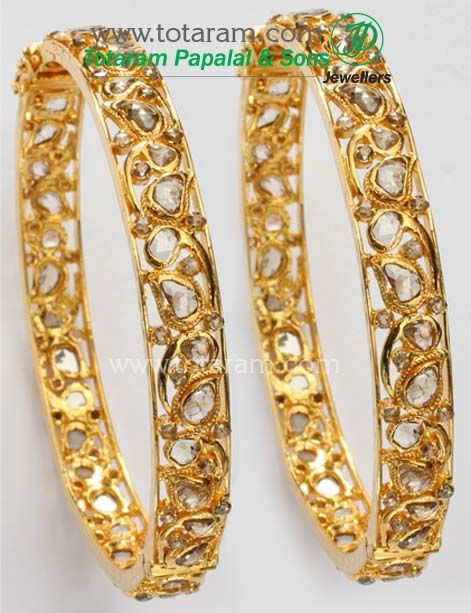 1 Pair of Uncut Diamond Bangles in 22K Gold Totaram Jewelers Buy