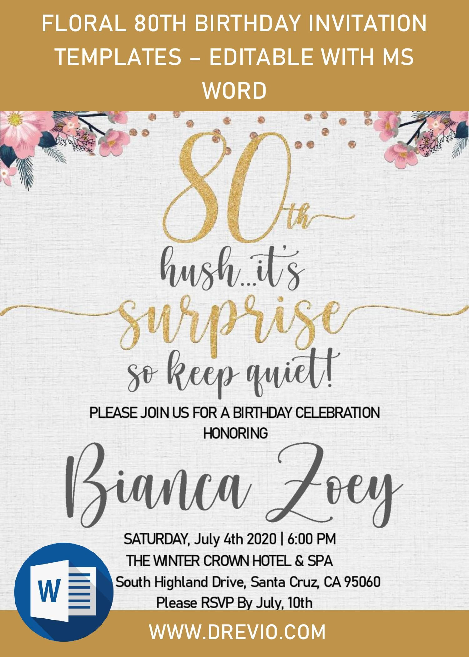 Floral 80th Birthday Invitation Templates Editable With Ms Word 80th Birthday Invitations Birthday Invitation Templates Birthday Invitations